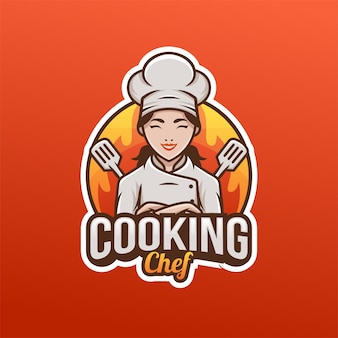 Piękny ładny szef kuchni kobieta mama logo maskotka. logo kuchni