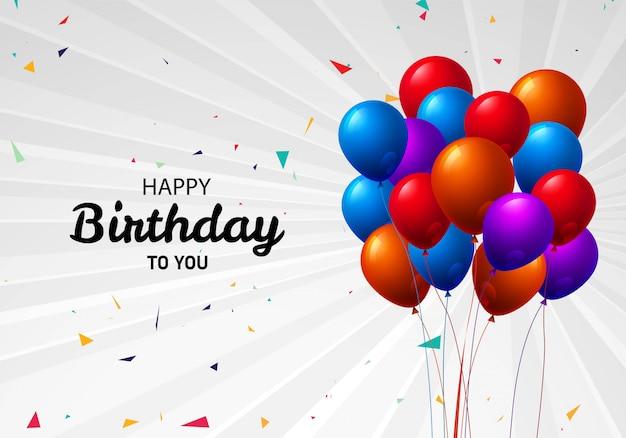 Piękny latający kolorowy balonu wszystkiego najlepszego z okazji urodzin świętowania tło