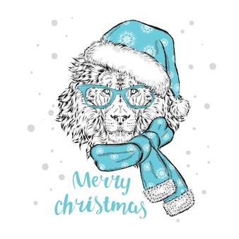 Piękny lew w ubraniach świątecznych i noworocznych