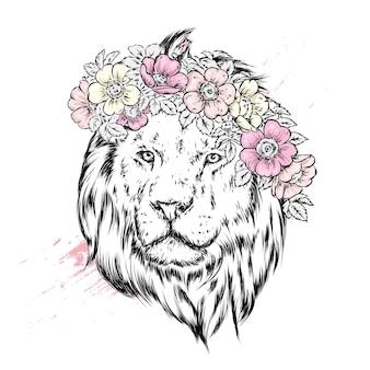 Piękny lew w wieńcu kwiatów