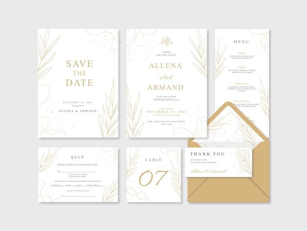Piękny luksusowy złoty i biały ślubny szablon papeterii