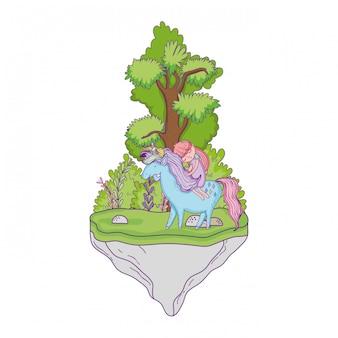 Piękny mały jednorożec z księżniczką w krajobrazie