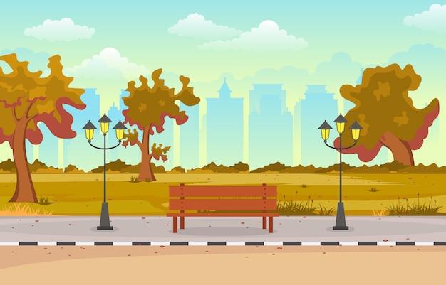 Piękny miasto park w jesieni jesieni z budynek linii horyzontu ilustracją