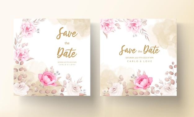 Piękny miękki brzoskwiniowy i brązowy kwiatowy szablon zaproszenia ślubne