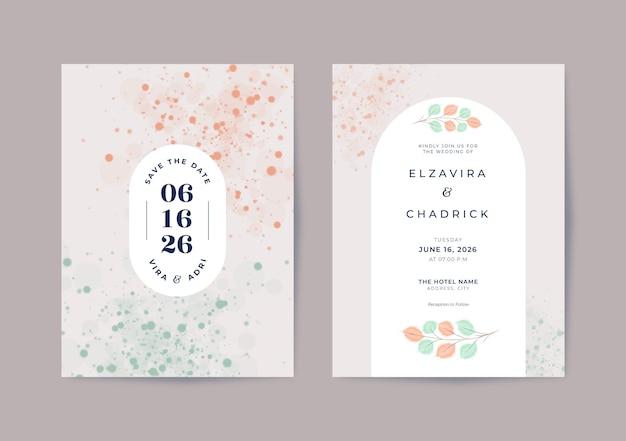 Piękny minimalistyczny szablon zaproszenia ślubnego