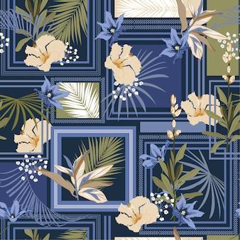 Piękny modny ciemny tropikalny wzór jedwabny szal z nowoczesną ramą egzotycznego lasu.