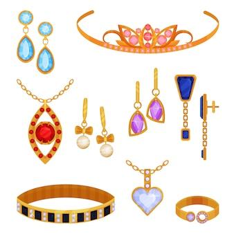 Piękny modny zestaw biżuterii ze złota, tiara, naszyjnik, bransoletka, złoty łańcuszek, kolczyki, wisiorek, pierścionek ilustracja na białym tle