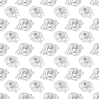 Piękny monochromatyczny czarno-biały wzór z róż, liści. ręcznie rysowane linie konturu. zaprojektuj kartkę z życzeniami i zaproszenie na ślub, urodziny, walentynki, dzień matki, wakacje