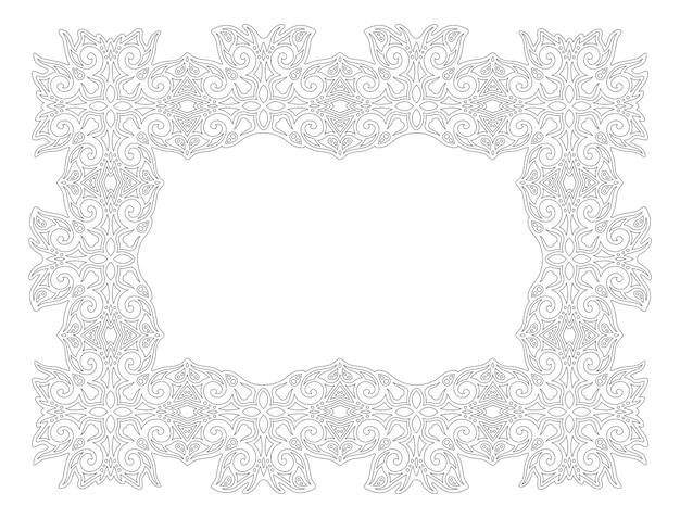 Piękny monochromatyczny liniowy wektor ilustracja dla dorosłych kolorowanki książki z streszczenie rama na białym tle na białym tle
