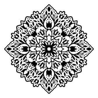 Piękny monochromatyczny tatuaż plemienny ilustracja wektorowa z czarnym kwiatowym wzorem na białym tle