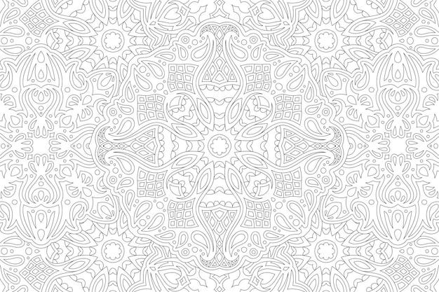 Piękny monochromatyczny wektor ilustracja liniowa dla dorosłych kolorowanka z abstrakcyjnym, szczegółowym wzorem vintage na białym tle