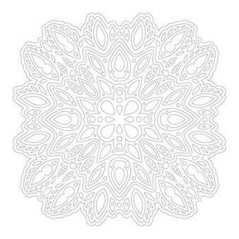Piękny monochromatyczny wektor ilustracja liniowa dla dorosłych kolorowanki książki z abstrakcyjnym pojedynczym wzorem na białym tle na białym tle