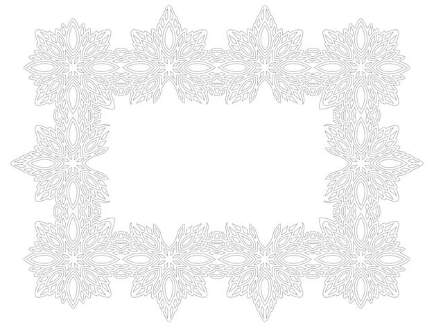 Piękny monochromatyczny wektor ilustracja liniowa dla dorosłych kolorowanki książki z na białym tle streszczenie rama i biała kopia miejsca