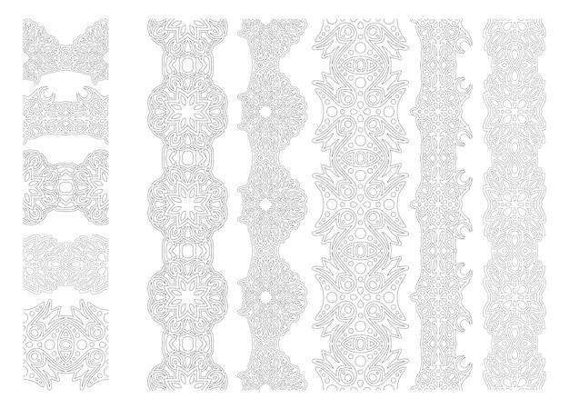 Piękny monochromatyczny wektor ilustracja liniowa dla dorosłych kolorowanki książki z streszczenie rocznika pędzle zestaw na białym tle na białym tle