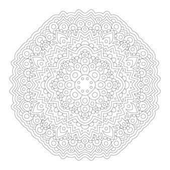 Piękny monochromatyczny wektor ilustracja liniowa do kolorowania strony książki z abstrakcyjnym wzorem wschodnim na białym tle na białym tle