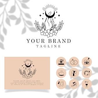 Piękny moon hand elegant line art logo edytowalny szablon