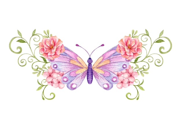 Piękny Motyl I Kwiatowa Dekoracja Ozdobna Premium Wektorów