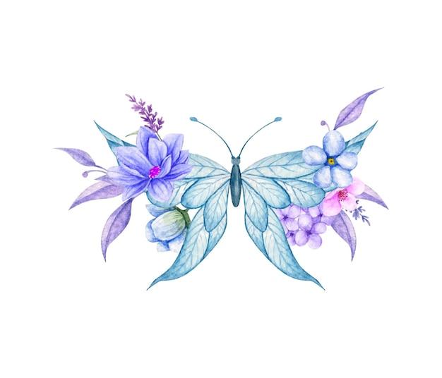 Piękny motyl i kwiatowa dekoracja ozdobna