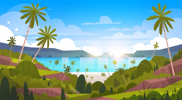 Piękny nadmorski krajobraz summer beach z palm tree exotic resort view