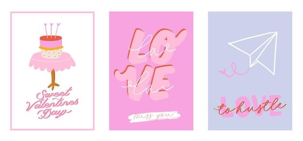 Piękny nadruk miłosny z elementami na walentynki. romantyczne i urocze elementy oraz urocza typografia. ręcznie rysowane ilustracje i napis. dobry na ślub, notatnik, logo, projekt koszulki.
