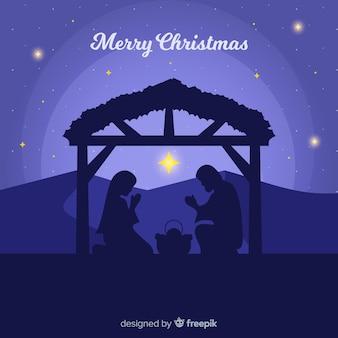 Piękny narodzenie jezusa sceny tło w płaskim projekcie