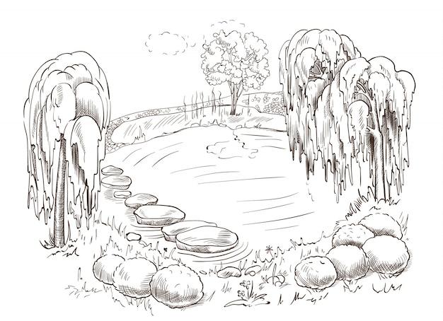 Piękny narysowany krajobraz jeziora otoczonego drzewami