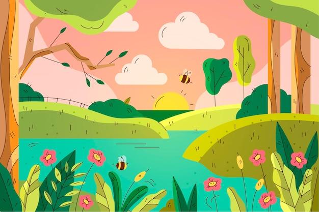 Piękny narysowany wiosenny krajobraz