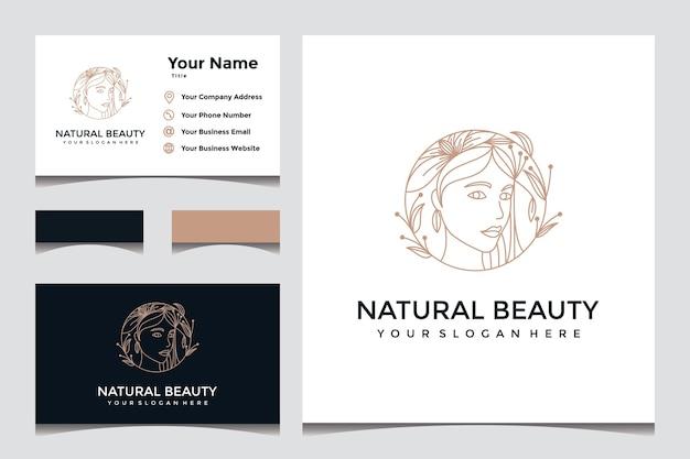 Piękny, naturalny, elegancki projekt logo twarzy z projektem wizytówki