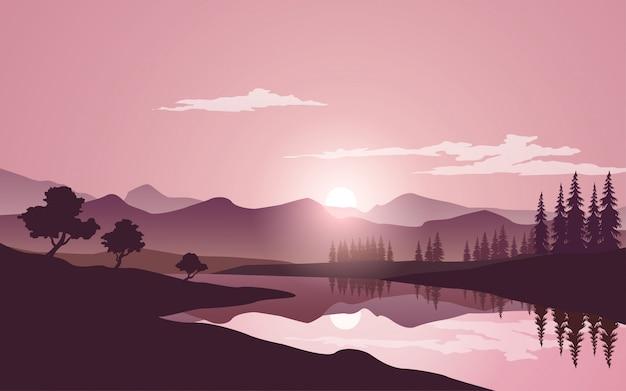 Piękny natury tło z górą i rzeką