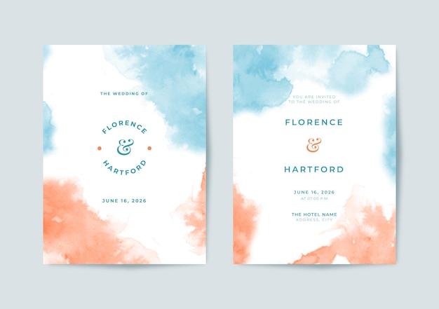 Piękny niebieski i pomarańczowy szablon zaproszenia ślubnego akwarela