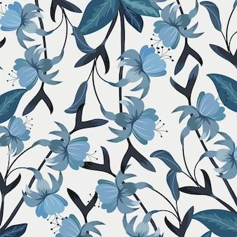 Piękny niebieski kwiat i wzór liścia.
