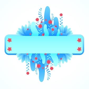 Piękny niebieski kwiat kwiatowy etykieta styl gradientu