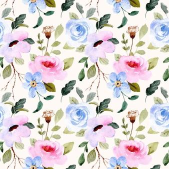 Piękny niebieski różowy kwiatowy wzór akwarela