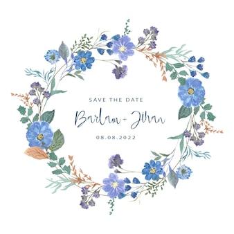 Piękny niebieski wieniec kwiatowy akwarela