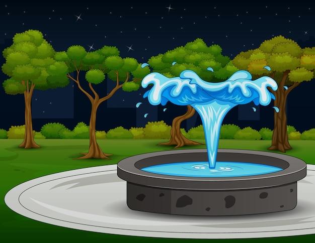 Piękny nocny krajobraz z ilustracją fontanny