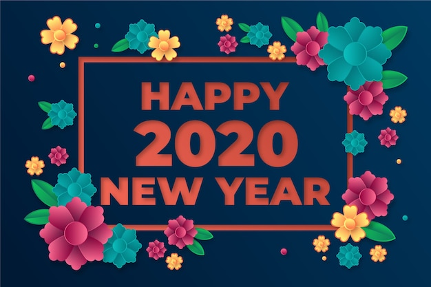 Piękny nowy rok 2020 tło w stylu papieru