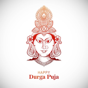 Piękny odręczny szkic na festiwal durga puja