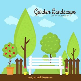 Piękny ogród krajobraz z drzew