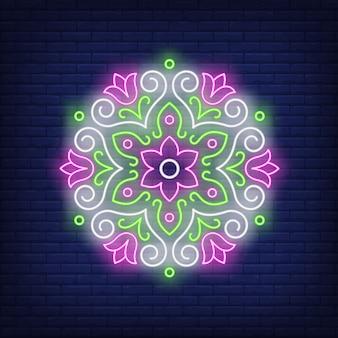 Piękny okrągły kwiatowy neon znak mandali