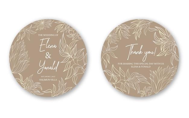 Piękny okrągły szablon kolekcji zaproszenia ślubne
