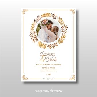 Piękny ozdobny ślub zaproszenia szablon ze zdjęciem