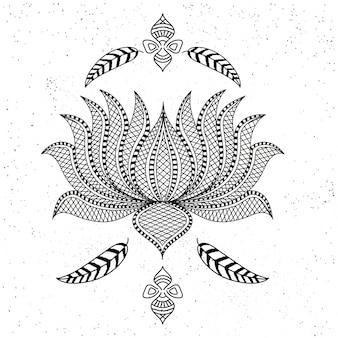 Piękny ozdobny styl boho kwiat lotosu