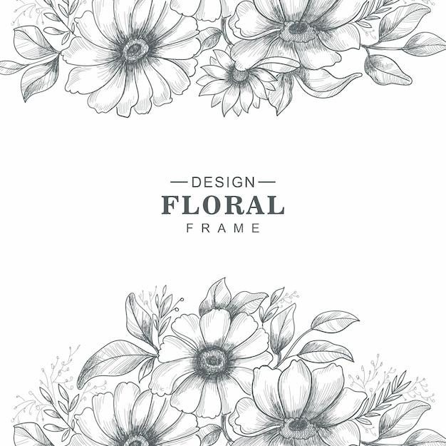 Piękny ozdobny szkic kwiatowy tło