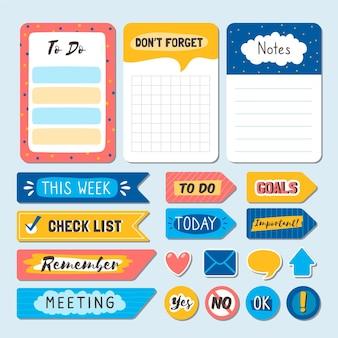 Piękny pakiet elementów notatnika planisty