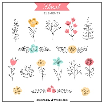 Piękny pakiet ręcznie rysowane elementy kwiatowe