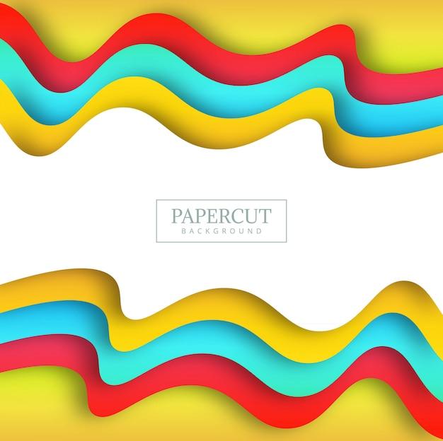Piękny papercut kolorowy falowy tło