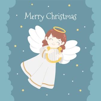 Piękny piękny anioł bożonarodzeniowy na niebie z postem na harfie w mediach społecznościowych
