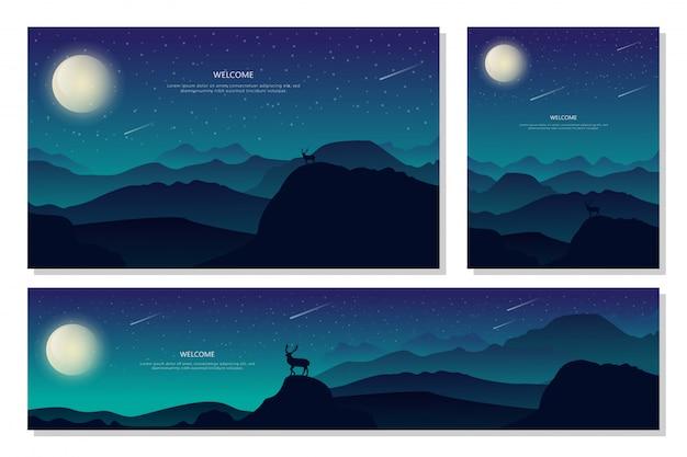 Piękny piękny krajobraz night mountain. streszczenie tło gradientowe, płaska konstrukcja