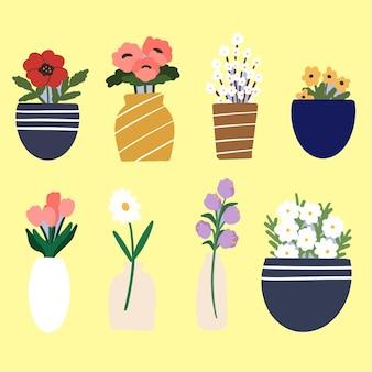 Piękny piękny kwiat dekoracji wnętrz ilustracja trzeci zestaw