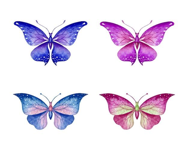 Piękny piękny ręcznie rysowane zestaw motyli akwarelowych